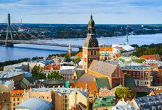 Panoramic view of Riga Old Town, Latvia stock photography