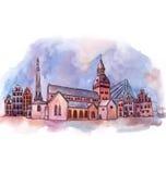 The panoramic view of Riga watercolor Stock Image
