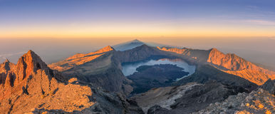 Panoramic view of Rinjani summit Royalty Free Stock Image