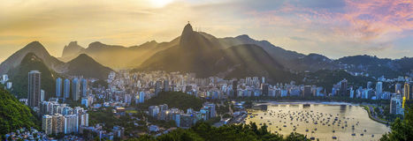 Panoramic view of Rio De Janeiro, Brazil landscape. Corcovado Moutain in Sunset Royalty Free Stock Photos