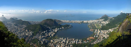 Panoramic view of Rio De Janeiro, Brazil landscape. Panoramic view of Rio De Janeiro, sky, city and seashore view from Christ the Redeemer. Brazil landscape Stock Photo