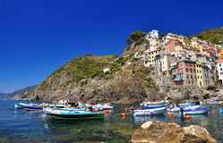 Panoramic view of Riomaggiore Royalty Free Stock Image
