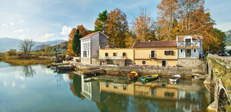 Panoramic view of river bank Royalty Free Stock Images