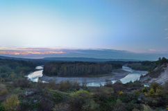 Panoramic view of river bend. Royalty Free Stock Image