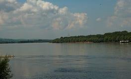 Panoramic view on river Danube in Novi Sad, Serbia.  stock photos