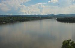 Panoramic view on river Danube in Novi Sad, Serbia.  stock photo