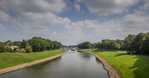 Panoramic view of the river IJssel near Deventer Royalty Free Stock Image