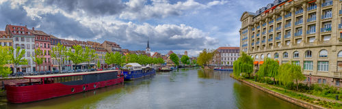 Panoramic view on river Ill in Strasbourg city center Royalty Free Stock Images