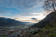 Panoramic view of river Inn valley Inntal and the local community of Jenbach. In the Austrian Alps stock photos