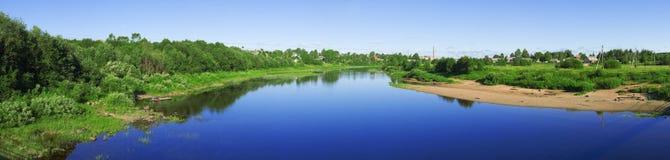 Panoramic view with river Kubena Stock Photography