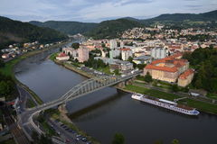 Panoramic view of the river Labe in Decin, Czech Republic Stock Image