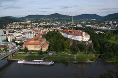 Panoramic view of the river Labe in Decin Stock Photography