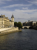 Panoramic view of  river SEINE Pont Neuf  bridge Stock Photo