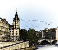 Panoramic view of  river SEINE Pont Neuf  bridge Royalty Free Stock Photography