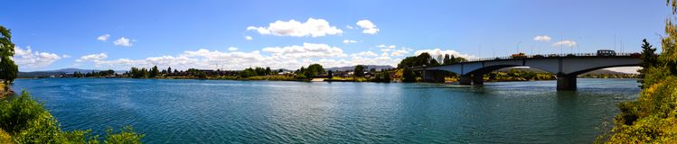 Panoramic view of Callecalle river in valdivia chile. Panoramic view of river on a sunny day in the city of valdivia chile Stock Photography