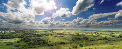 Panoramic view of river valley in temperate zone Stock Image