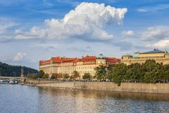 Panoramic view of the river Vltava, embankment, bridges in the city of Prague. Czech Republic.  Royalty Free Stock Image