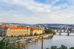 Panoramic view of the river Vltava, embankment, bridges in the city of Prague. Czech Republic.  Royalty Free Stock Images