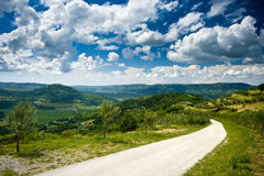 Panoramic view on the road close to Motovun Stock Image