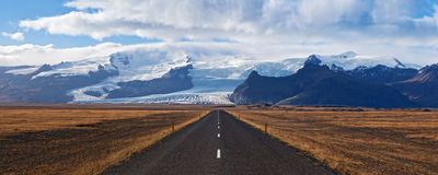 Panoramic view of road to glacier Stock Photography