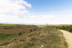 Panoramic view, road to Santiago de Compostela, La Rioja Stock Photo