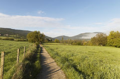 Panoramic view with Road to Santiago de Compostela, Navarre Stock Photo