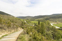 Panoramic view with Road to Santiago de Compostela, Navarre Royalty Free Stock Photography