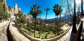 Panoramic view of the road up to mountain of Guadalest. Spain Stock Photos