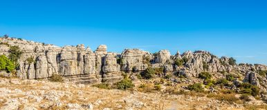 Panoramic view at the rock formation El Torcal of Antequera - Spain. Panoramic view at the rock formation El Torcal of Antequera in Spain Royalty Free Stock Images