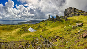 Panoramic view of the rock formation The Old Man of Storr (Isle of Skye, Scotland). Rock formation The Old Man of Storr (Isle of Skye, Scotland) - HDR panorama Royalty Free Stock Images