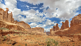 Panoramic view of rock formations in Arches National Park. Royalty Free Stock Image