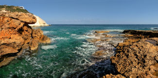 Panoramic view on rocks and Mediterranean sea. Panoramic view on rocks and Mediterranean sea in northern Israel Stock Photo
