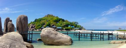 Panoramic view of the rocks on the snow-white beach of the tropical Nang Yuan island, Thailand stock photo