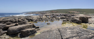 Panoramic view of the rocky beach Augusta West Australia in summer Stock Images