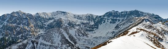 Panoramic view of Rocky Bucegi Mountains Royalty Free Stock Image