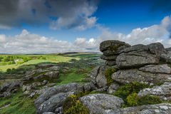 Panoramic view on rocky hills in Dartmoor. Westcountry, UK Royalty Free Stock Photography