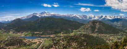 Panoramic view of Rocky mountains, Colorado, USA. Panoramic view of Rocky mountains from Prospect Mountain, Estes Park, Colorado, USA royalty free stock image