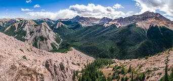 Panoramic view of Rocky mountains range, Alberta, Canada. Panoramic view of Rocky mountains range in Jasper NP, Alberta, Canada Royalty Free Stock Photo