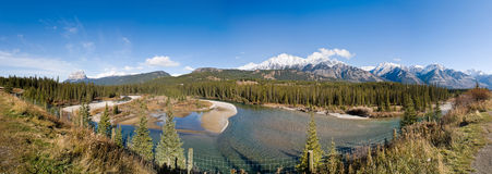 Panoramic View of Rocky Mountains and River. Panoramic view of Rocky Mountains. Alberta. Canada stock photography