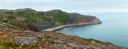 Panoramic view on the rocky shore of the Barents sea. Kola Penin. Sula, Arctic. Russia Stock Image