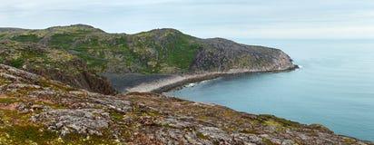 Panoramic view on the rocky shore of the Barents sea. Kola Peninsula, Arctic. Russia. stock image