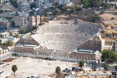 Panoramic view on Roman amphitheater in Amman Royalty Free Stock Photography
