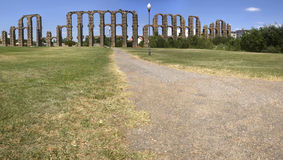 Panoramic view of Roman Aqueduc. T Los Milagros, Merida, Spain. West side Royalty Free Stock Images