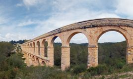 Panoramic view of Roman Aqueduct Stock Image