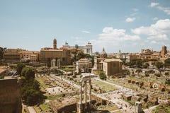 Panoramic view of Roman forum, also known by Forum Romanum stock photos