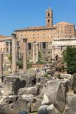 Panoramic view of Roman Forum in city of Rome, Italy. ROME, ITALY - JUNE 24, 2017: Panoramic view of Roman Forum in city of Rome, Italy Royalty Free Stock Images