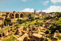 Panoramic view of Roman forum royalty free stock photography