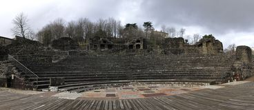 Panoramic view of a Roman theatre in Lyon city Stock Photo