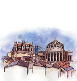 The panoramic view of Romania  watercolor Stock Images