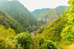Panoramic view of the Romanian mountains stock photography